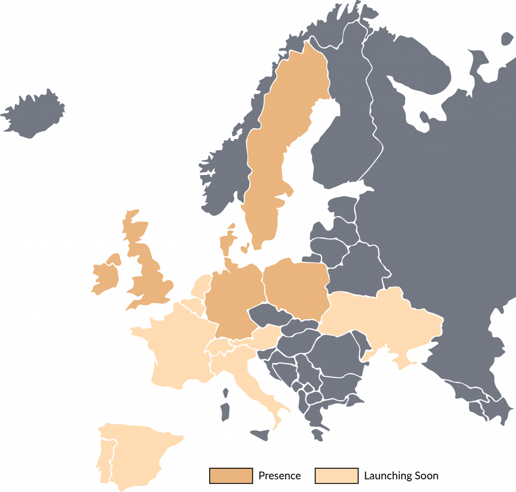 Firstcom European location map